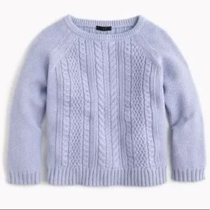 J Crew Cotton Cable Crew Neck Sweater Lavender